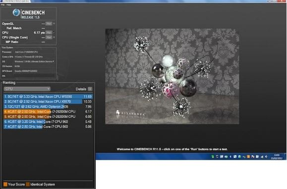 hieu suat cinebench dell precision m6600